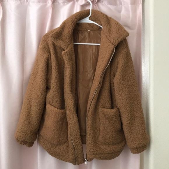 97879023b1 SHEIN Jackets & Coats | Fluffy Brown Teddy Bear Jacket | Poshmark